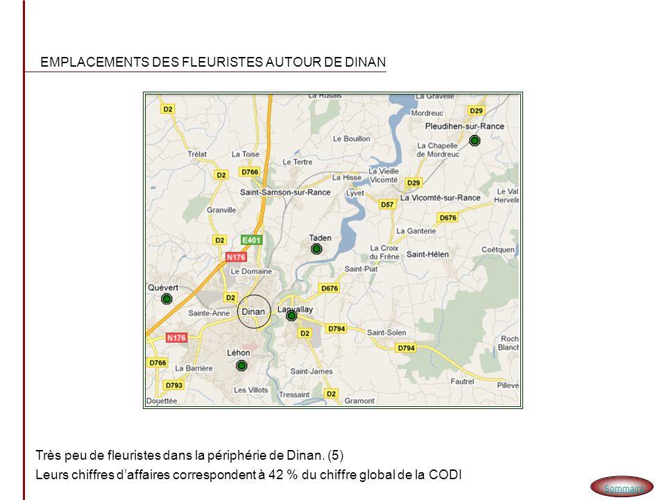 CHIFFRES DES FLEURISTES -15 Fleuristes se partagent le marché de la Codi -Dont 10 dans le centre de Dinan et 5 éparpillés autour de Dinan.