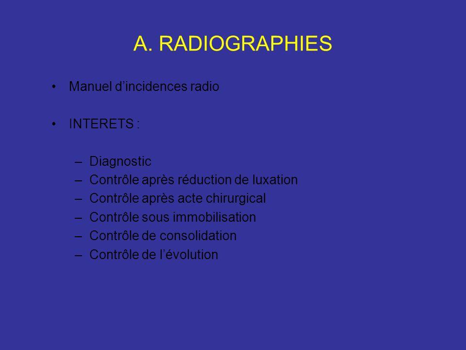 A. RADIOGRAPHIES Manuel dincidences radio INTERETS : –Diagnostic –Contrôle après réduction de luxation –Contrôle après acte chirurgical –Contrôle sous