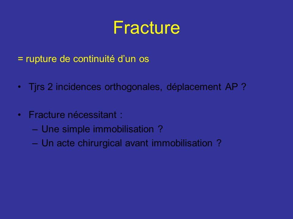 Fracture = rupture de continuité dun os Tjrs 2 incidences orthogonales, déplacement AP ? Fracture nécessitant : –Une simple immobilisation ? –Un acte