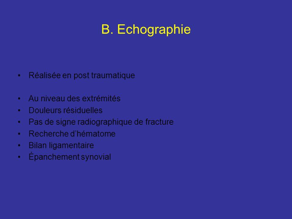 B. Echographie Réalisée en post traumatique Au niveau des extrémités Douleurs résiduelles Pas de signe radiographique de fracture Recherche dhématome