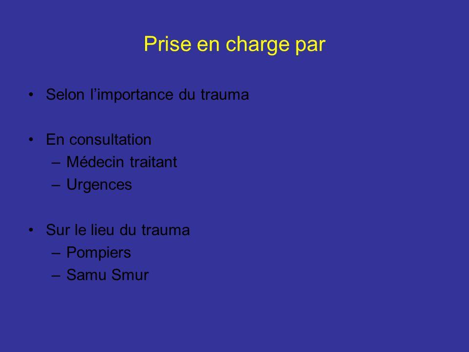 Prise en charge par Selon limportance du trauma En consultation –Médecin traitant –Urgences Sur le lieu du trauma –Pompiers –Samu Smur