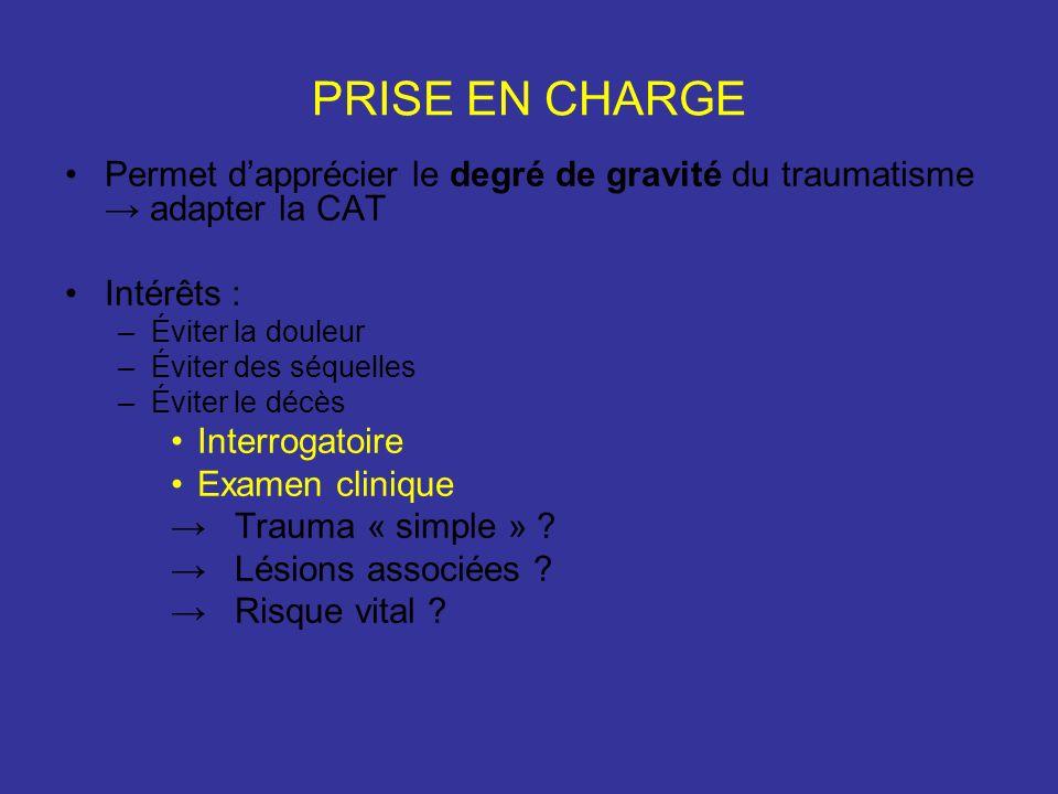 PRISE EN CHARGE Permet dapprécier le degré de gravité du traumatisme adapter la CAT Intérêts : –Éviter la douleur –Éviter des séquelles –Éviter le décès Interrogatoire Examen clinique Trauma « simple » .