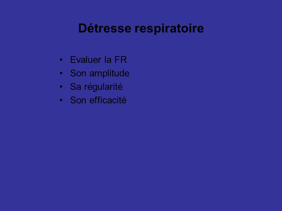Détresse respiratoire Evaluer la FR Son amplitude Sa régularité Son efficacité