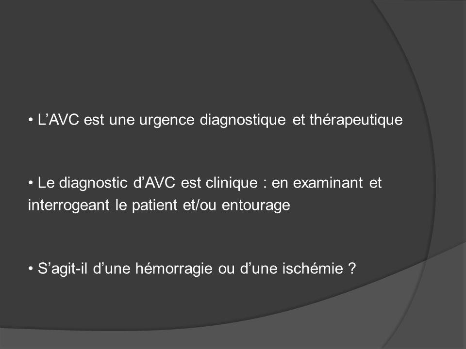 LAVC est une urgence diagnostique et thérapeutique Le diagnostic dAVC est clinique : en examinant et interrogeant le patient et/ou entourage Sagit-il