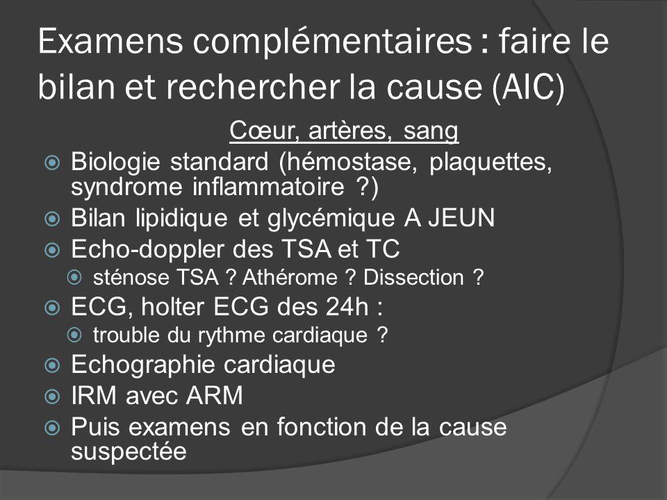 Examens complémentaires : faire le bilan et rechercher la cause (AIC) Cœur, artères, sang Biologie standard (hémostase, plaquettes, syndrome inflammat