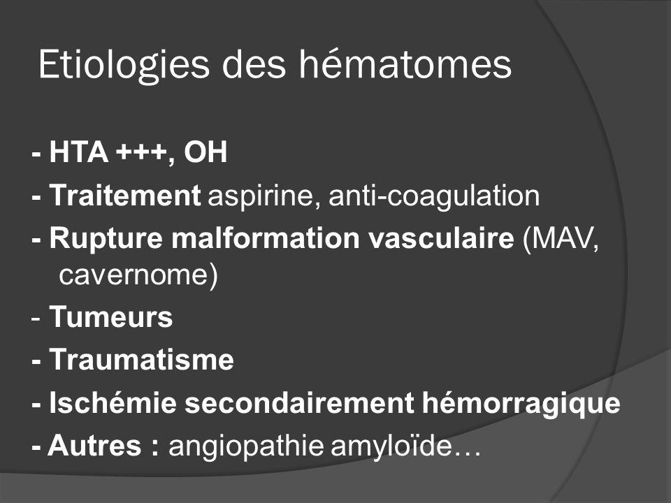 Etiologies des hématomes - HTA +++, OH - Traitement aspirine, anti-coagulation - Rupture malformation vasculaire (MAV, cavernome) - Tumeurs - Traumati