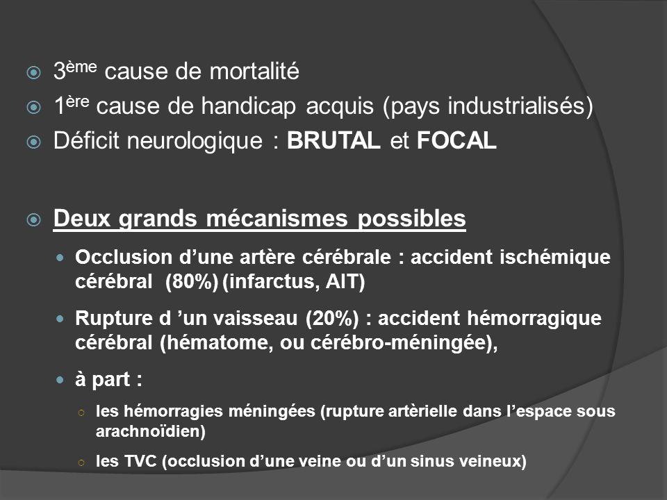 3 ème cause de mortalité 1 ère cause de handicap acquis (pays industrialisés) Déficit neurologique : BRUTAL et FOCAL Deux grands mécanismes possibles