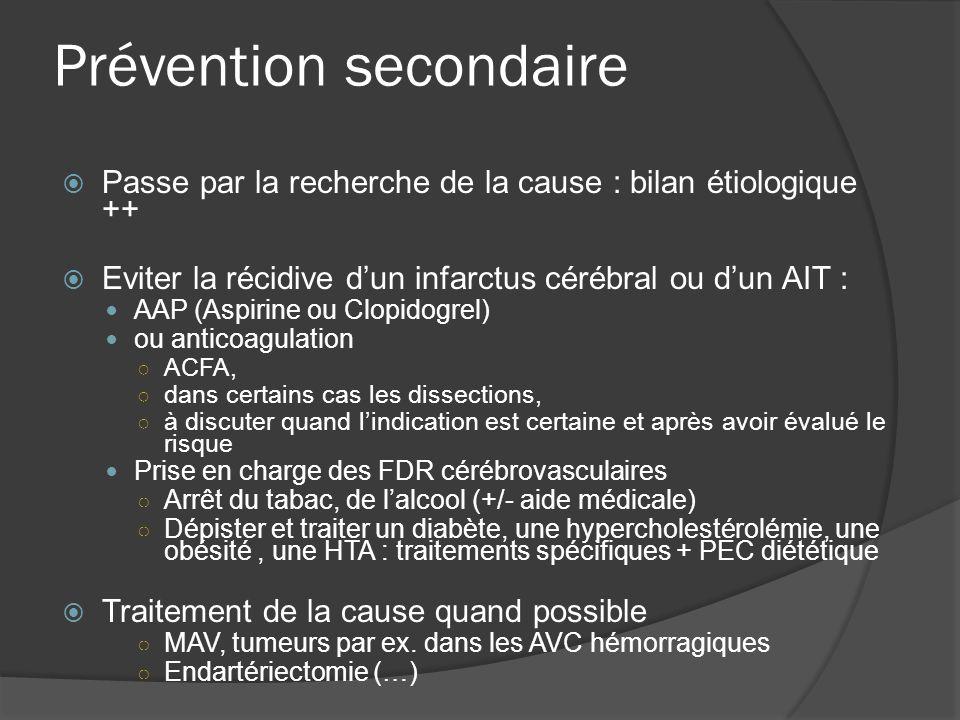 Prévention secondaire Passe par la recherche de la cause : bilan étiologique ++ Eviter la récidive dun infarctus cérébral ou dun AIT : AAP (Aspirine o
