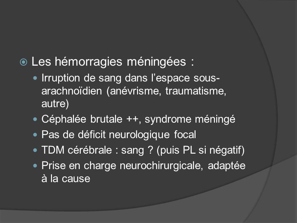 Les hémorragies méningées : Irruption de sang dans lespace sous- arachnoïdien (anévrisme, traumatisme, autre) Céphalée brutale ++, syndrome méningé Pa