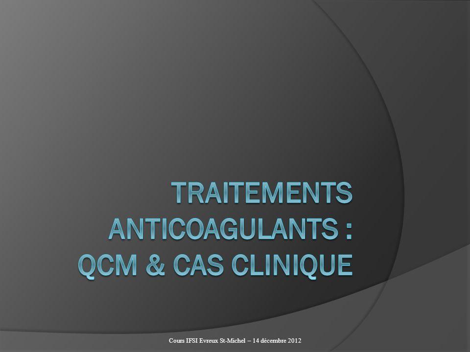 QCM : lINR A - est calculé à partir du TQ B - facilite le compréhension du traitement par le patient C - améliore la reproductibilité interlaboratoire D - permet de mieux définir les zones thérapeutiques pour chaque indication du traitement AVK Réponses : A, B, C et D