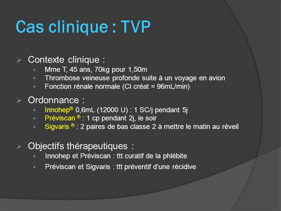 Cas clinique : TVP Suivi ttt : HBPM : NFS basale puis NFS 2x/sem AVK : INR dès 2 ème jour de ttt, puis 2x/sem pendant 2 semaines puis 1x/sem pendant 3 semaines puis 1x/mois + à chaque situation potentiellement perturbatrice de léquilibre Relais héparine-AVK : J0 : héparine + AVK J2 : INR J3…J10 : INR ± arrêt héparine dès que 2 INR cibles à 24h dintervalle