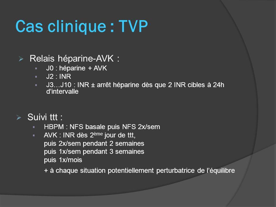 Cas clinique : TVP Suivi ttt : HBPM : NFS basale puis NFS 2x/sem AVK : INR dès 2 ème jour de ttt, puis 2x/sem pendant 2 semaines puis 1x/sem pendant 3