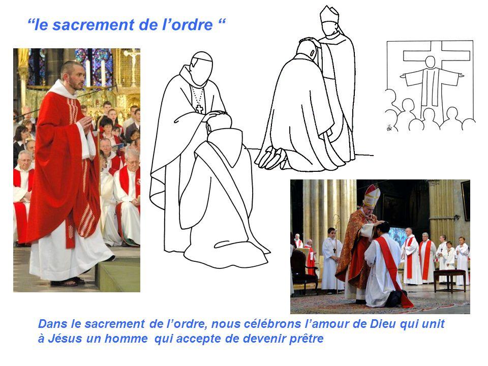 le sacrement de lordre Dans le sacrement de lordre, nous célébrons lamour de Dieu qui unit à Jésus un homme qui accepte de devenir prêtre
