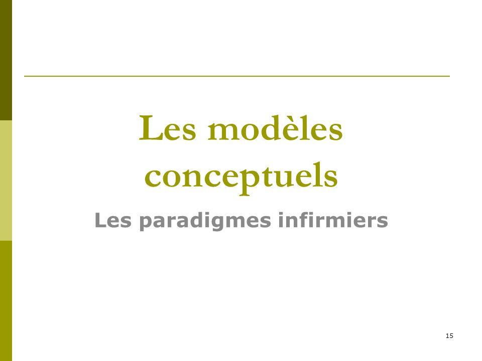 Les modèles conceptuels Les paradigmes infirmiers 15