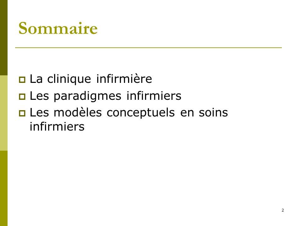 Sommaire La clinique infirmière Les paradigmes infirmiers Les modèles conceptuels en soins infirmiers 2
