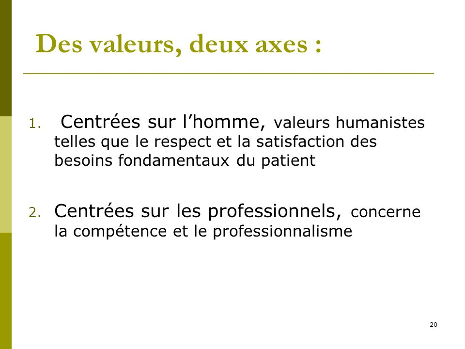 Des valeurs, deux axes : 1. Centrées sur lhomme, valeurs humanistes telles que le respect et la satisfaction des besoins fondamentaux du patient 2. Ce