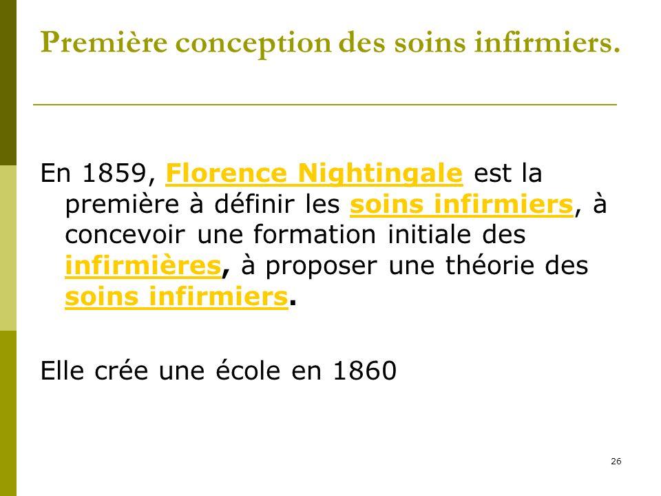 Première conception des soins infirmiers. En 1859, Florence Nightingale est la première à définir les soins infirmiers, à concevoir une formation init