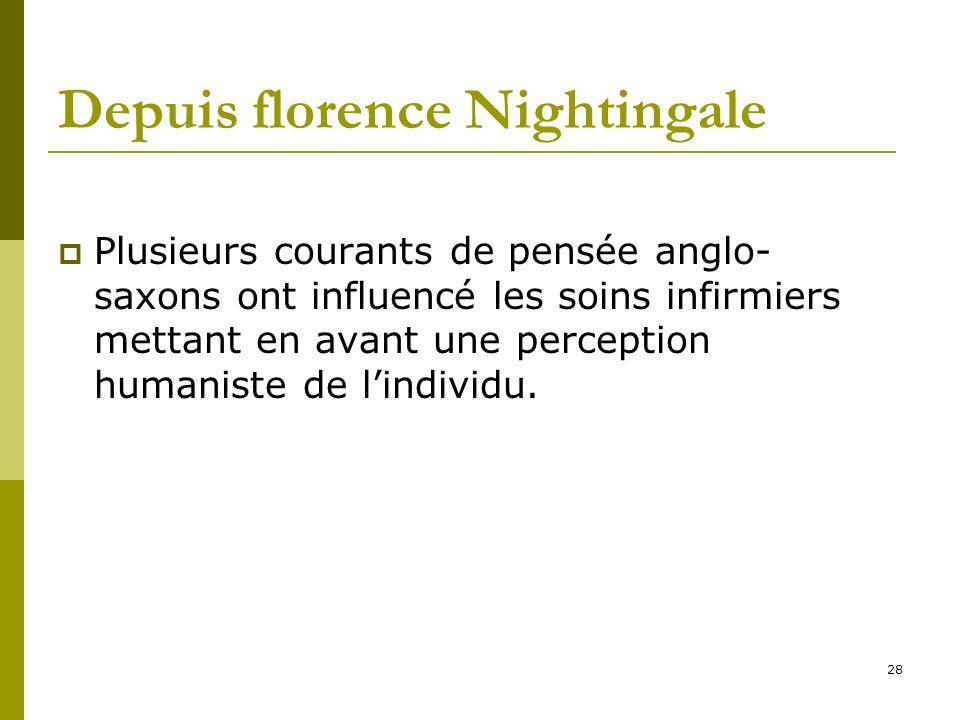Depuis florence Nightingale Plusieurs courants de pensée anglo- saxons ont influencé les soins infirmiers mettant en avant une perception humaniste de