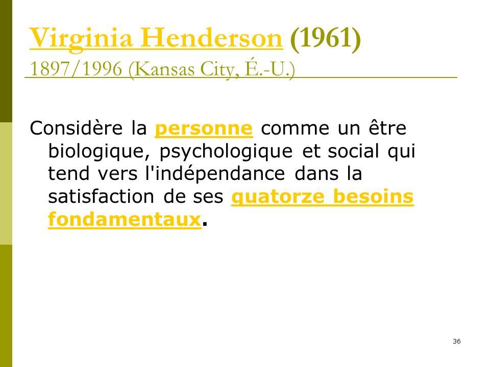 Virginia HendersonVirginia Henderson (1961) 1897/1996 (Kansas City, É.-U.) Considère la personne comme un être biologique, psychologique et social qui
