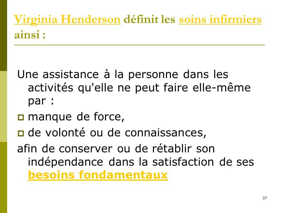 Virginia HendersonVirginia Henderson définit les soins infirmiers ainsi :soins infirmiers Une assistance à la personne dans les activités qu'elle ne p