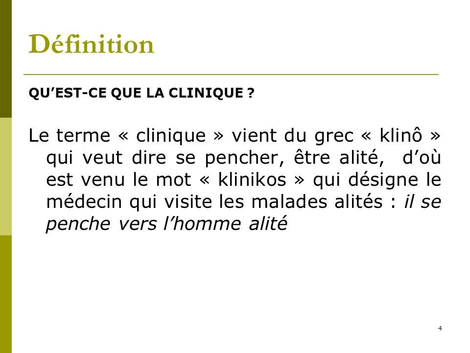 Définition QUEST-CE QUE LA CLINIQUE ? Le terme « clinique » vient du grec « klinô » qui veut dire se pencher, être alité, doù est venu le mot « klinik