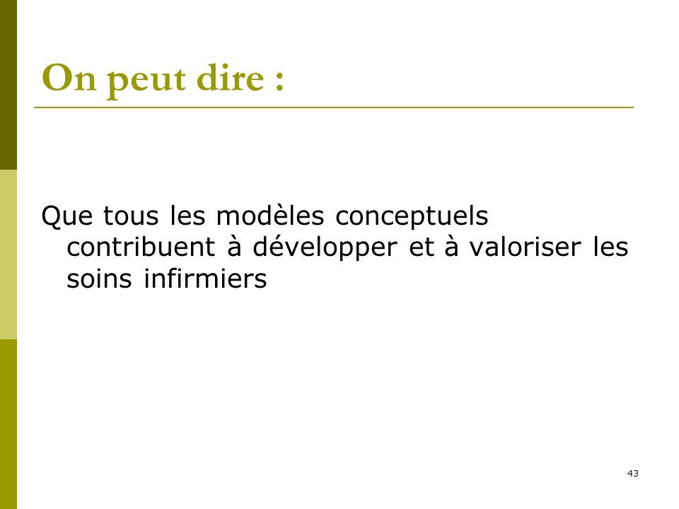 On peut dire : Que tous les modèles conceptuels contribuent à développer et à valoriser les soins infirmiers 43