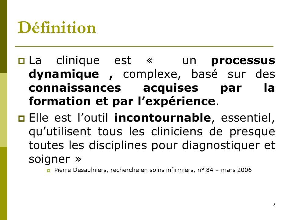 Définition La clinique est « un processus dynamique, complexe, basé sur des connaissances acquises par la formation et par lexpérience. Elle est louti