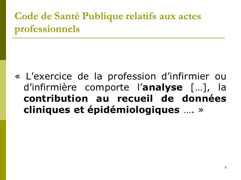Code de Santé Publique relatifs aux actes professionnels « Lexercice de la profession dinfirmier ou dinfirmière comporte lanalyse […], la contribution