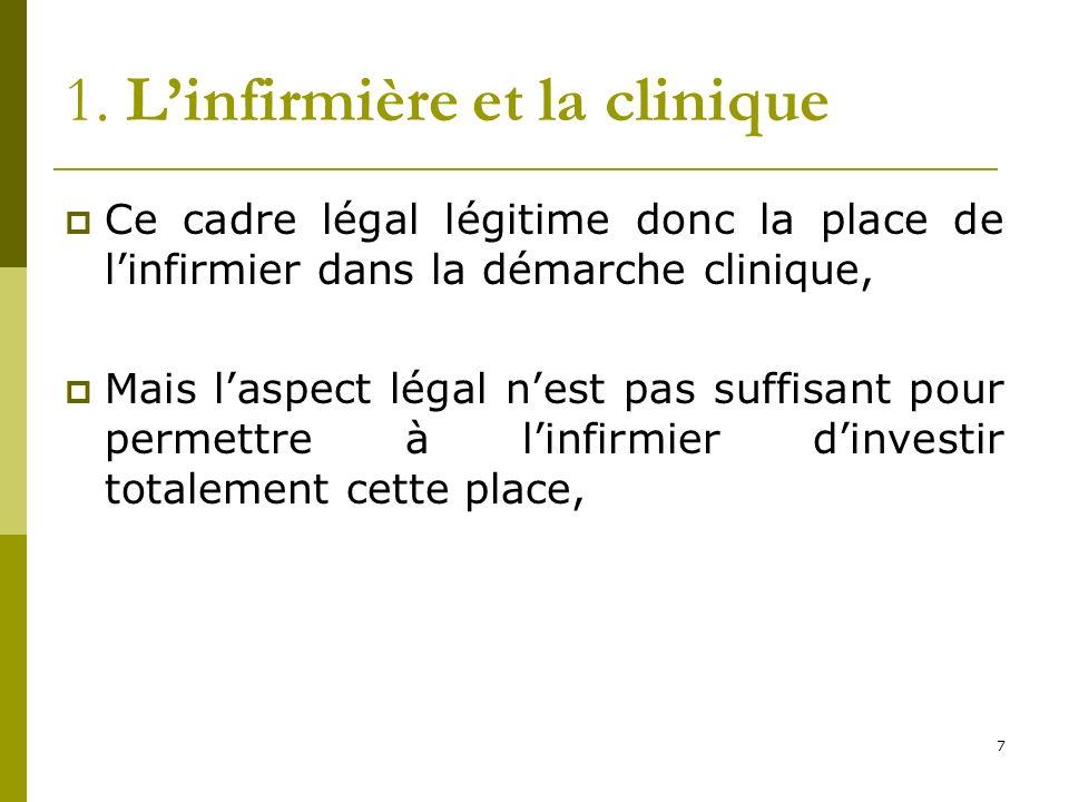 1. Linfirmière et la clinique Ce cadre légal légitime donc la place de linfirmier dans la démarche clinique, Mais laspect légal nest pas suffisant pou