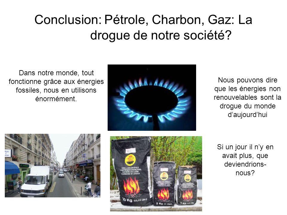 Conclusion: Pétrole, Charbon, Gaz: La drogue de notre société? Dans notre monde, tout fonctionne grâce aux énergies fossiles, nous en utilisons énormé