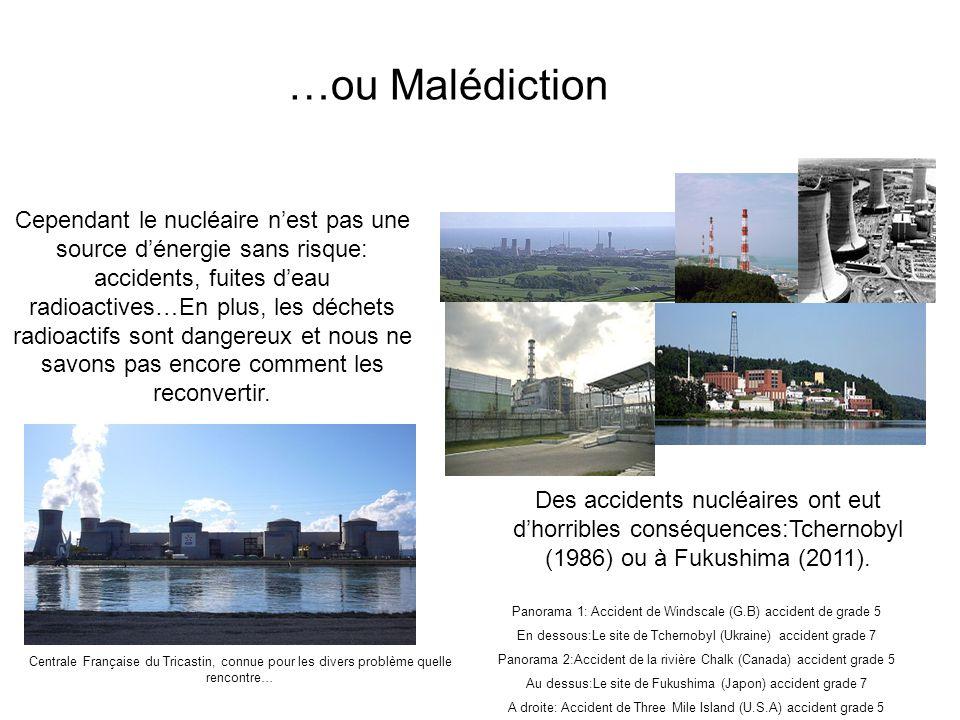 …ou Malédiction Cependant le nucléaire nest pas une source dénergie sans risque: accidents, fuites deau radioactives…En plus, les déchets radioactifs