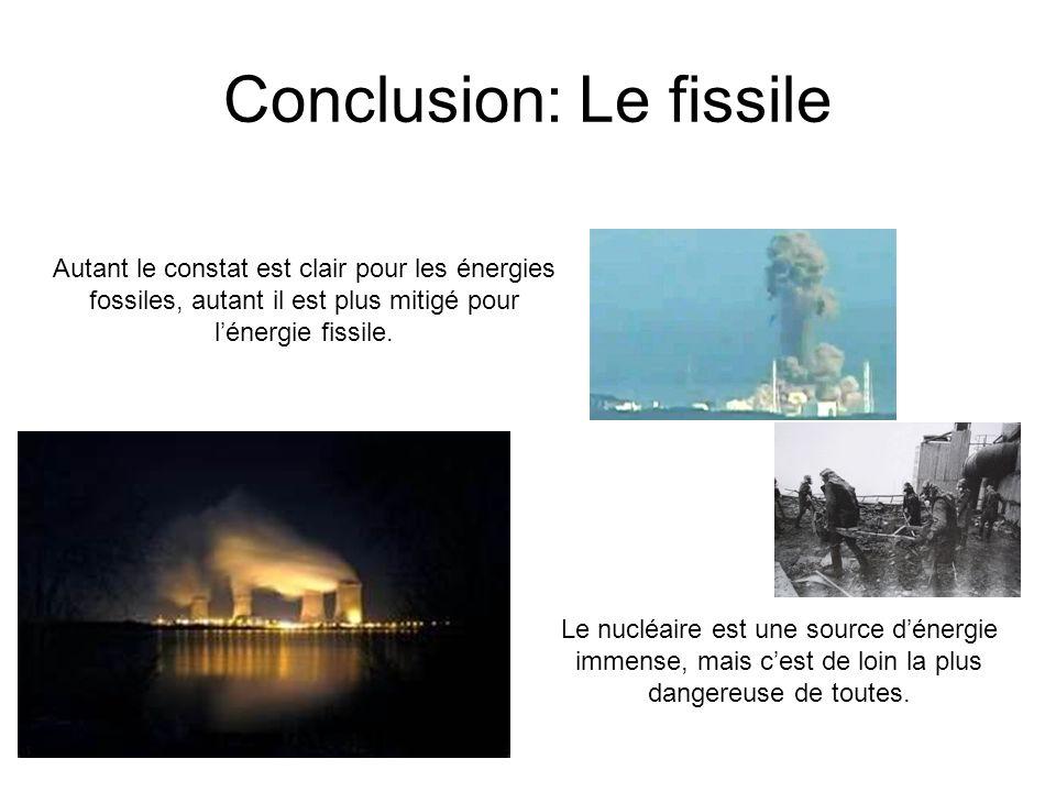 Conclusion: Le fissile Autant le constat est clair pour les énergies fossiles, autant il est plus mitigé pour lénergie fissile. Le nucléaire est une s