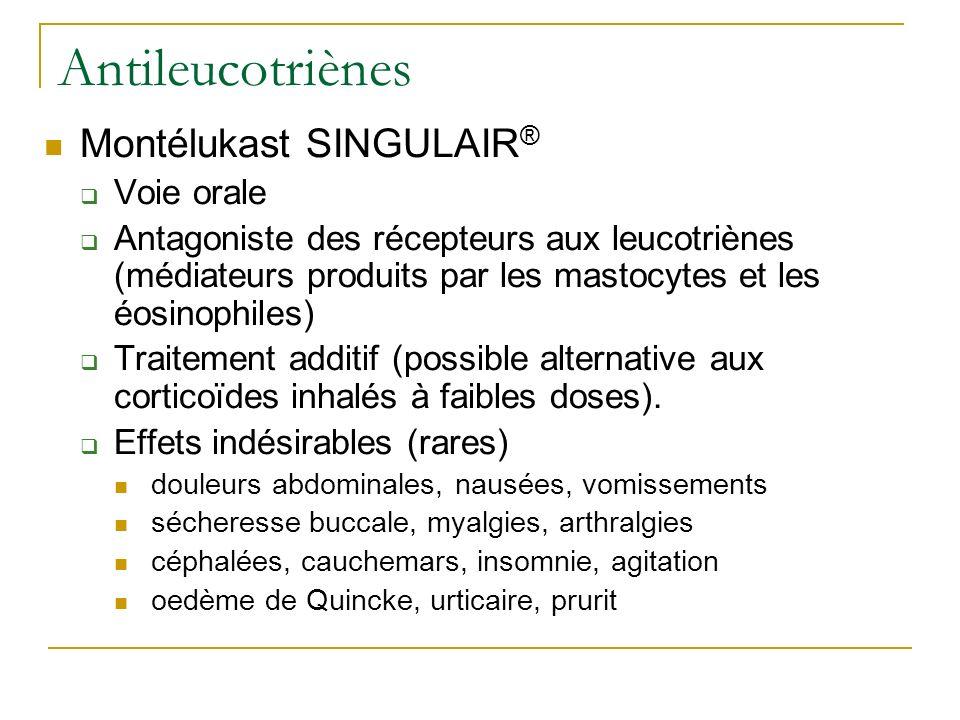 Antileucotriènes Montélukast SINGULAIR ® Voie orale Antagoniste des récepteurs aux leucotriènes (médiateurs produits par les mastocytes et les éosinop