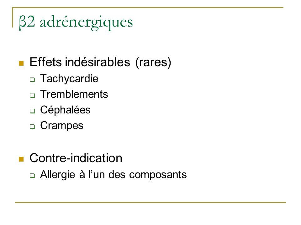 β2 adrénergiques Effets indésirables (rares) Tachycardie Tremblements Céphalées Crampes Contre-indication Allergie à lun des composants