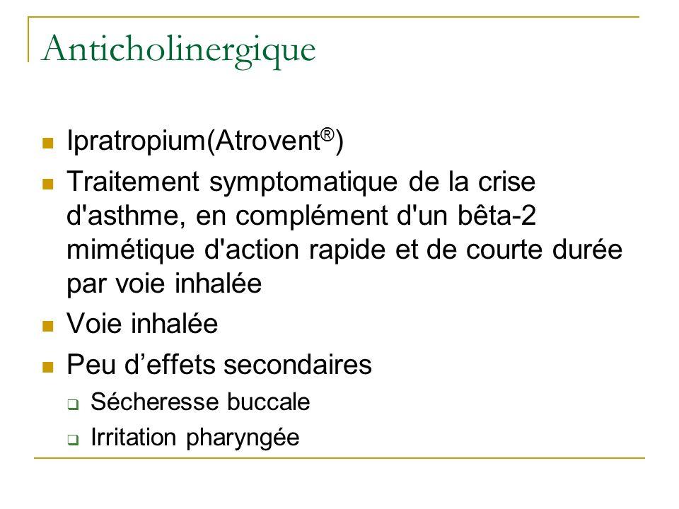 Anticholinergique Ipratropium(Atrovent ® ) Traitement symptomatique de la crise d'asthme, en complément d'un bêta-2 mimétique d'action rapide et de co
