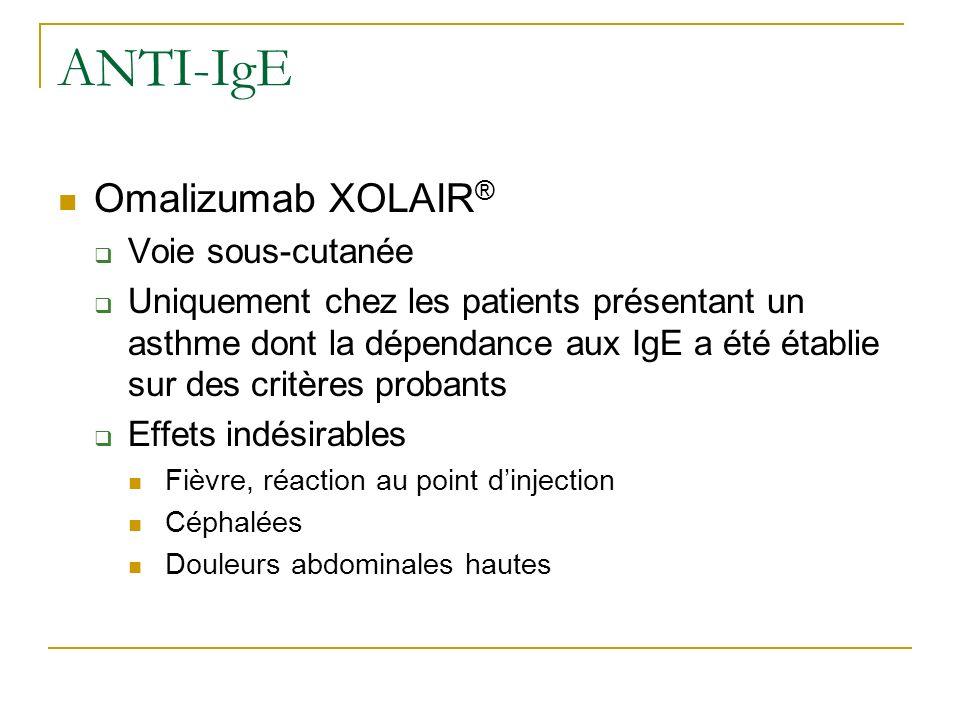 ANTI-IgE Omalizumab XOLAIR ® Voie sous-cutanée Uniquement chez les patients présentant un asthme dont la dépendance aux IgE a été établie sur des crit
