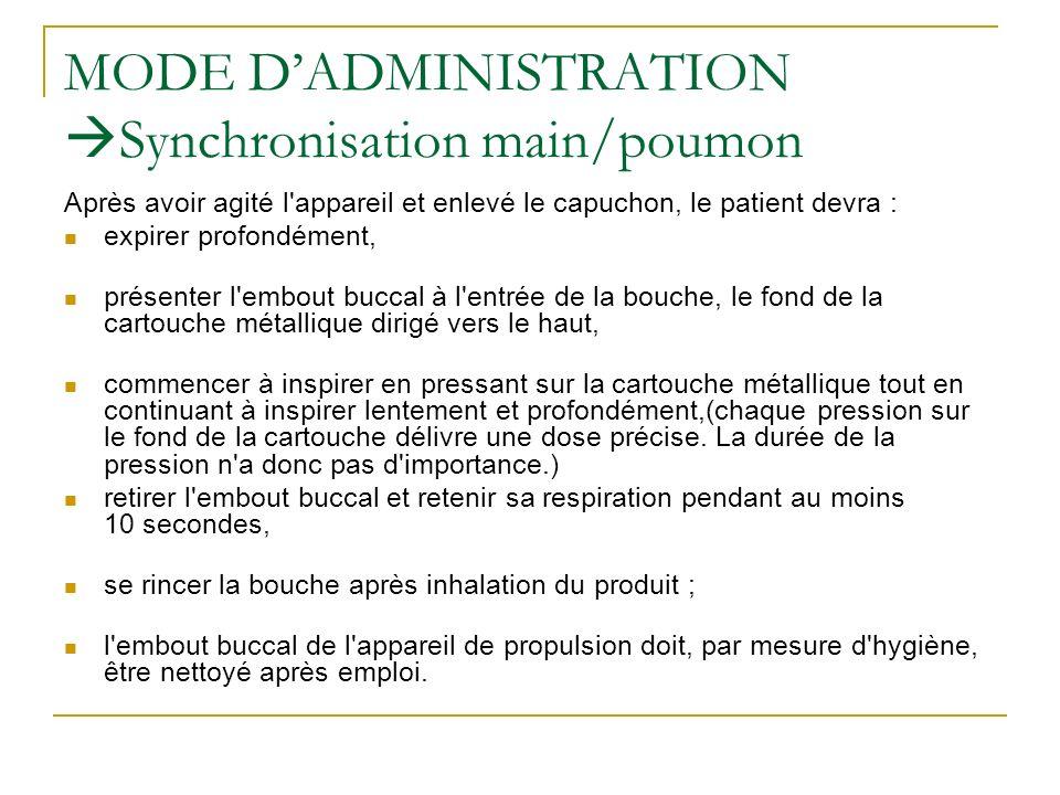 MODE DADMINISTRATION Synchronisation main/poumon Après avoir agité l'appareil et enlevé le capuchon, le patient devra : expirer profondément, présente
