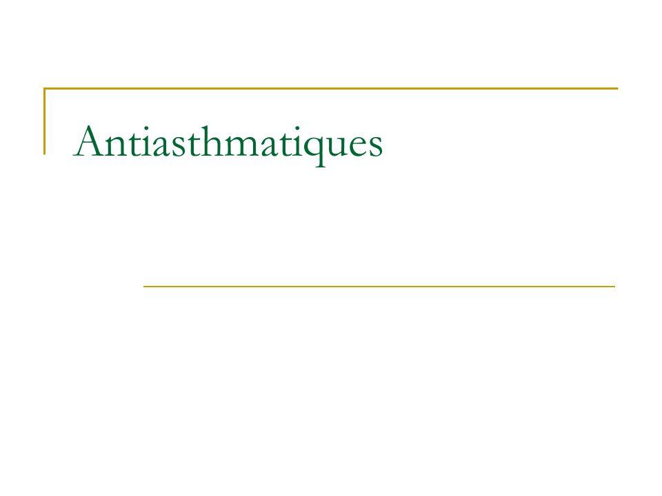 MUCOLYTIQUES Voie endotrachéale Acétylcystéine : Mucomystendo ® Instillation par la canule de trachéotomie Effets indésirables Bronchospasme Inondation bronchique Sensation de brûlure trachéale ou toux d irritation (en particulier si le produit est insuffisamment dilué ou utilisé pur) Réactions d hypersensibilité avec possibilité de choc anaphylactique, réactions anaphylactoïdes, angioedème, rashs cutanés