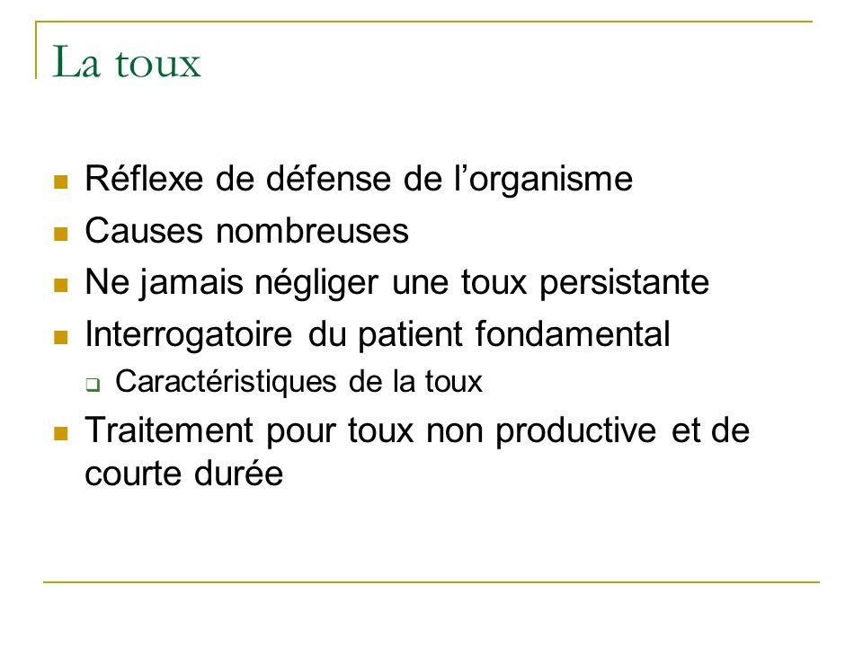 La toux Réflexe de défense de lorganisme Causes nombreuses Ne jamais négliger une toux persistante Interrogatoire du patient fondamental Caractéristiq