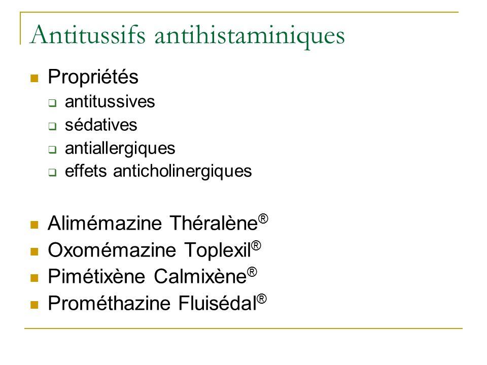 Antitussifs antihistaminiques Propriétés antitussives sédatives antiallergiques effets anticholinergiques Alimémazine Théralène ® Oxomémazine Toplexil