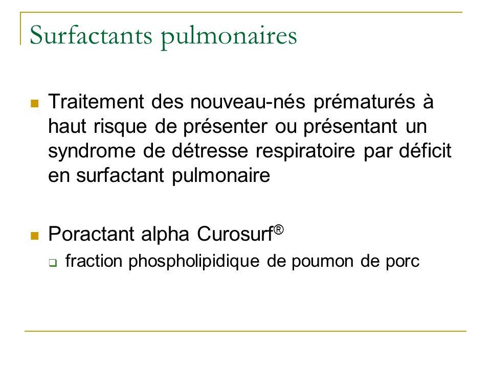 Traitement des nouveau-nés prématurés à haut risque de présenter ou présentant un syndrome de détresse respiratoire par déficit en surfactant pulmonai