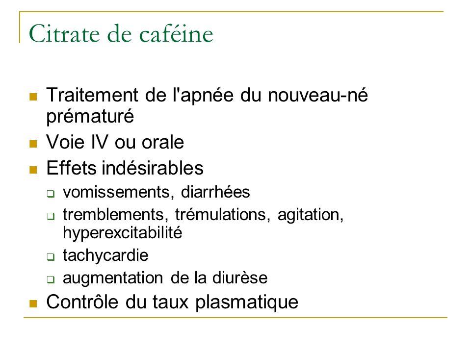 Citrate de caféine Traitement de l'apnée du nouveau-né prématuré Voie IV ou orale Effets indésirables vomissements, diarrhées tremblements, trémulatio