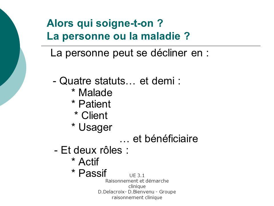 UE 3.1 Raisonnement et démarche clinique D.Delacroix- D.Bienvenu - Groupe raisonnement clinique Alors qui soigne-t-on .