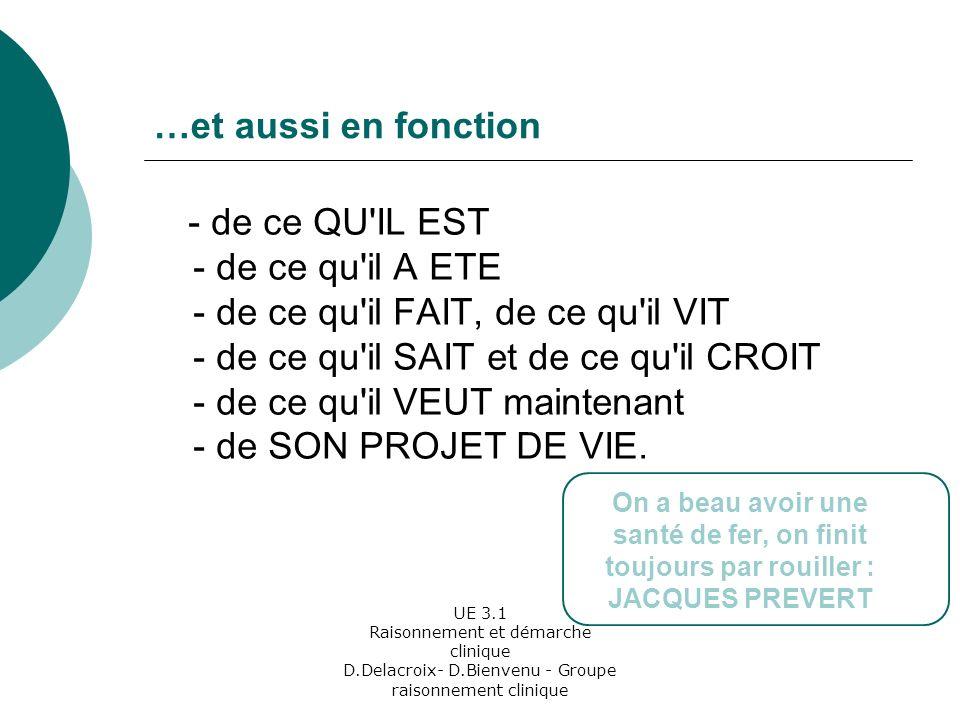 UE 3.1 Raisonnement et démarche clinique D.Delacroix- D.Bienvenu - Groupe raisonnement clinique …et aussi en fonction - de ce QU IL EST - de ce qu il A ETE - de ce qu il FAIT, de ce qu il VIT - de ce qu il SAIT et de ce qu il CROIT - de ce qu il VEUT maintenant - de SON PROJET DE VIE.