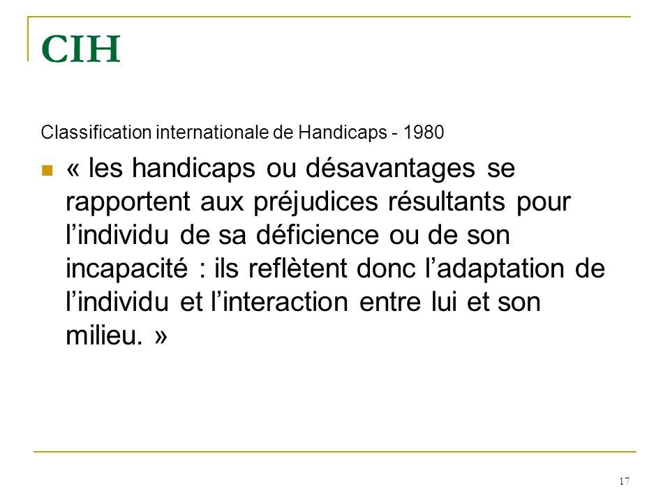 17 CIH Classification internationale de Handicaps - 1980 « les handicaps ou désavantages se rapportent aux préjudices résultants pour lindividu de sa