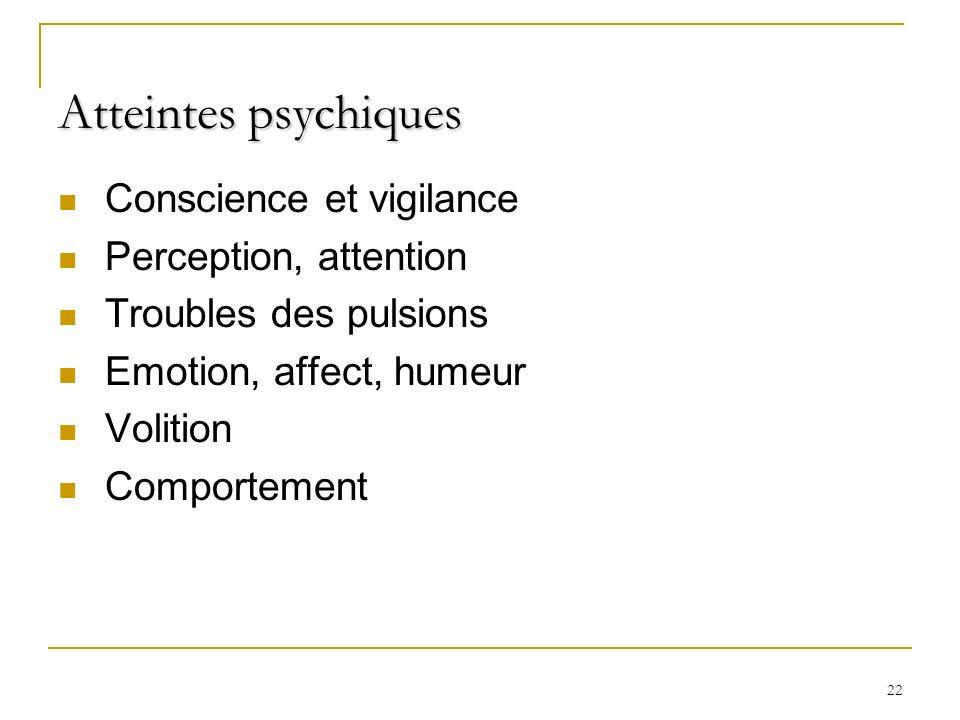 22 Atteintes psychiques Conscience et vigilance Perception, attention Troubles des pulsions Emotion, affect, humeur Volition Comportement