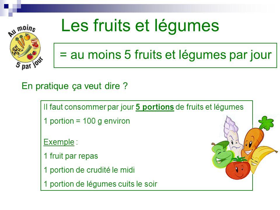 Les fruits et légumes = au moins 5 fruits et légumes par jour En pratique ça veut dire ? Il faut consommer par jour 5 portions de fruits et légumes 1
