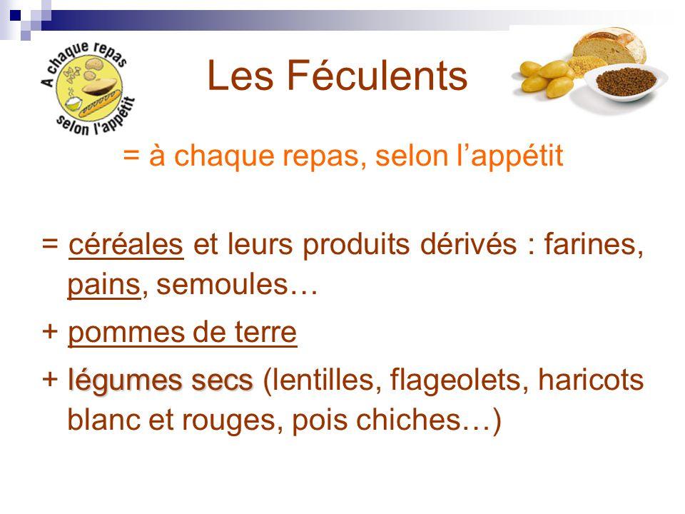 Les Féculents = à chaque repas, selon lappétit = céréales et leurs produits dérivés : farines, pains, semoules… + pommes de terre légumes secs + légum
