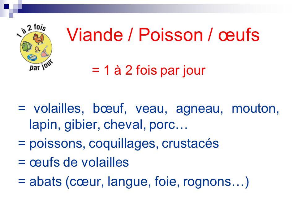 Viande / Poisson / œufs = 1 à 2 fois par jour = volailles, bœuf, veau, agneau, mouton, lapin, gibier, cheval, porc… = poissons, coquillages, crustacés