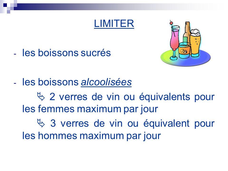LIMITER - les boissons sucrés - les boissons alcoolisées 2 verres de vin ou équivalents pour les femmes maximum par jour 3 verres de vin ou équivalent